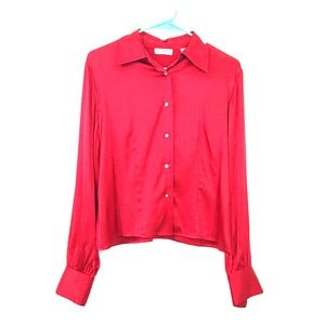 Valerie Stevens Red Silk long sleeve button down S